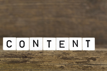 The word content written in cubes