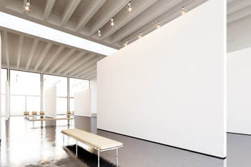 Photo exposition modern gallery. Huge white empty canvas hanging contemporary art museum.Interior industrial style with concrete floor,spotlight,generic design furniture and building. 3d rendering