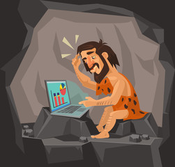 Caveman using laptop. Vector flat cartoon illustration