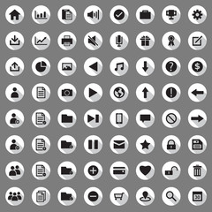 icon set for web in flat design with long shadows