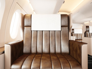 Photo interior of luxury private airplane. Empty leather chair, sunlight. Blank white frame ready for your business information. Horizontal mockup. 3d rendering