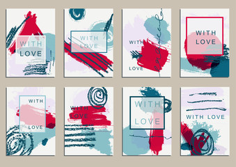 Set of universal cards. Hand Drawn textures.  Vector. Isolated.
