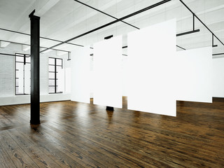 Loft expo interior in modern building.Open space studio.Empty white canvas hanging.Wood floor, bricks wall,panoramic windows.Blank frames ready for bussiness information.Horizontal. 3d rendering
