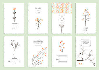 Collection of 8 romantic invitations. Wedding, marriage, bridal