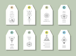 Collection of 12 Hang Tags. Trendy geometric patterns and colors