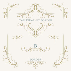 Collection of calligraphic elements. Decorative borders. Graphic design page.