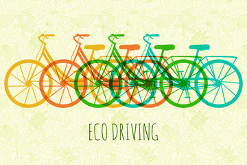 Bikes on background with leaves.  Vector illustration.