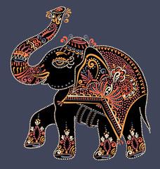 folk art indian elephant, vector dot painting illustration