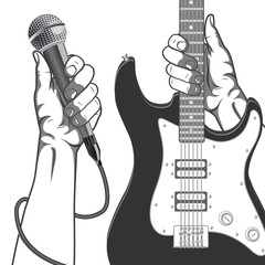 Hands holding a microphone and a guitar. Black and white vintage illustration.