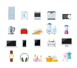 Set of Household Appliances Design Flat