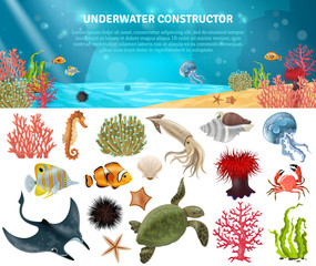 Sea Life Constructor Isolated Icons Set