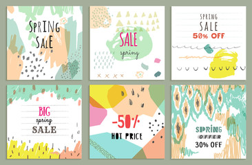 Spring sale design. Collection of six hand drawn unusual posters