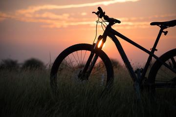 Beautiful Landscape Mountain biking down hill at sunset