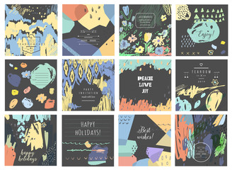 Set of 12 creative universal cards. Hand Drawn textures.