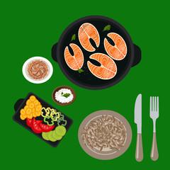 Вкусная и здоровая еда, семга и порезанные овощи и восточный рис