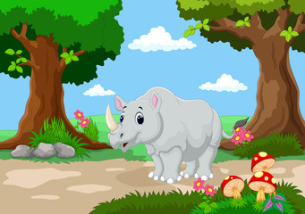 Funny rhino with a background of a beautiful garden