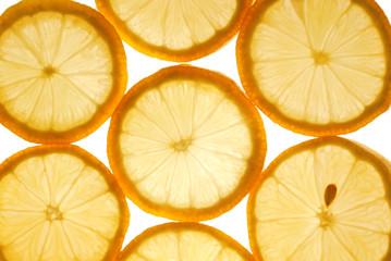 closeup of the lemon slices texture