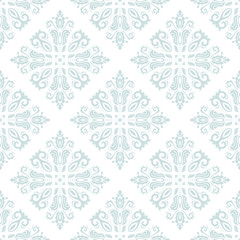 Seamless oriental light blue ornament in the style of baroque. Traditional classic vector pattern