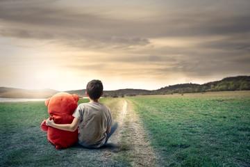 Foto auf Leinwand Fantasie-Landschaft Young boy and his friend