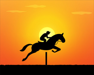 Horse Jumping in sunset time. vector