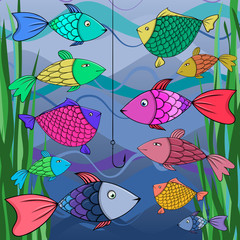 Illustration of many fish.