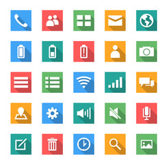 icon set for moble in flat design with long shadows