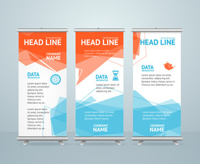 Roll Up Banner with Colorful Geometric Bubble Speech. Vector