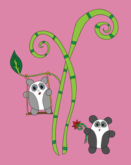 Two cute panda on the bamboo tree