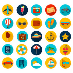 Summer holiday flat icons with long shadow. Vector