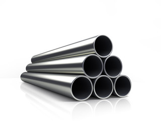3d illustration of a stack of pipes isolated on white background