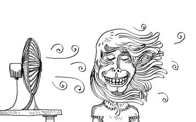 Canicule : ventilateur qui souffle sur les cheveux longs d'une fille
