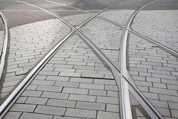 Tram Track in Rotterdam, Holland,