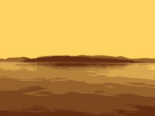 Vector island in the sea