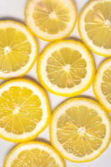 Close up of  fresh yellow lemon slices