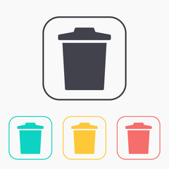 trash bin vector color icon set