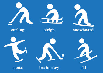 curling, sleigh, snowboard, skate, ice hockey, ski, sport icons