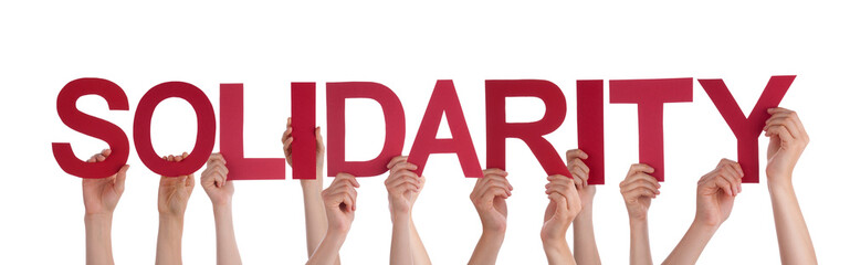 Many People Hands Holding Red Straight Word Solidarity