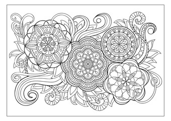image with doodle mandalas and tangle elements