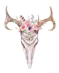 Watercolor bohemian deer skull.  Western mammals. Watercolour  d