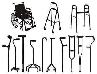 Fototapeta Vector set  silhouettes of sticks and crutches obraz