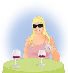Girl with Wineglasses