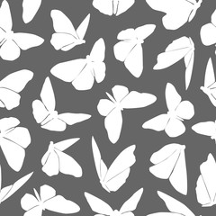 White And Gray Pattern With Butterflies