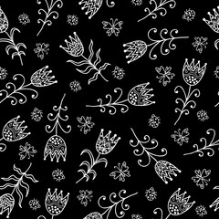 White Summer Pattern With Tulips And Ladybugs On The Black Background