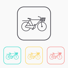 City Bicycle outline color icon set