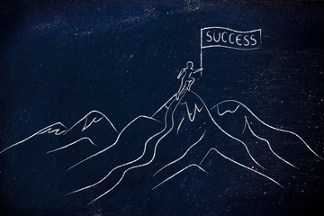 person with Success banner standing on top of a mountain