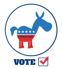 Democrat Donkey Cartoon Character Circle Label With Text Vote