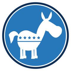 Democrat Donkey Blue Circle Label. Illustration Flat Design Style Isolated On White