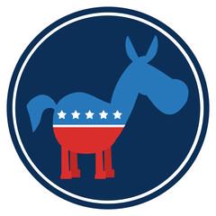 Democrat Donkey Cartoon Blue Circle Label
