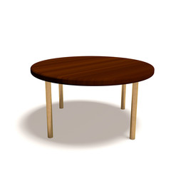 Round wooden table on white background.