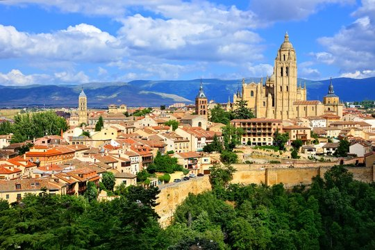 View over the town of Segovia, Spain with its cathedral and medieval walls